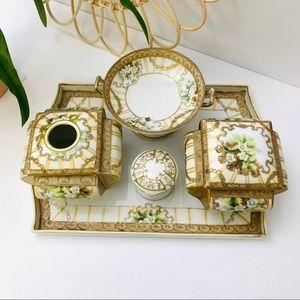 Vintage   Hand Painted Nippon Porcelain Vanity Set